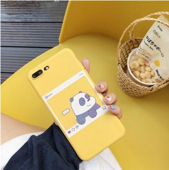Калъф за iPhone 7 Plus и iPhone 8 Plus в жълт цвят с апликация на панда