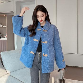 Нов модел дамско палто с дълъг ръкав в бял,зелен и син цвят