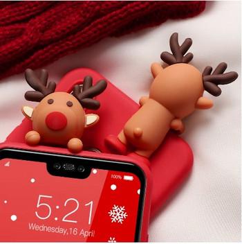 Калъф с коледни мотиви и 3D декорация за Huawei P20 Lite в червен цвят