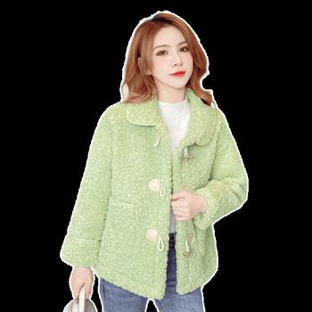 Модерно дамско палто с копчета и джобове в зелен,розов,жълт и бежов цвят