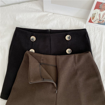 Σύντομα παντελόνια σε μαύρο και καφέ χρώμα με κουμπιά