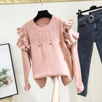 Μοντέρνο γυναικείο πουλόβερ με O-λαιμόκοψη σε ροζ και λευκό χρώμα