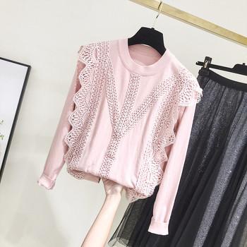 Casual γυναικείο πουλόβερ  με στρογγυλη λαιμόκοψη σε ροζ και μπεζ χρώμα