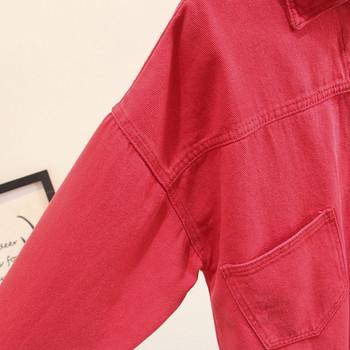 Μοντέρνο γυναικείο μπουφάν με τσέπες και κουμπιά σε ροζ και μαύρο χρώμα