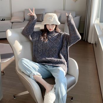 Καθημερινό πουλόβερ με κολάρο σε γκρι χρώμα
