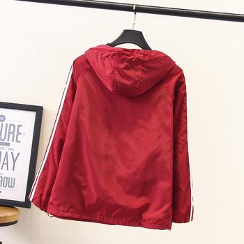 Γυναικείο φθινοπωρινό μπουφάν με κουκούλα και μακρύ μανίκι σε κόκκινο και μαύρο χρώμα
