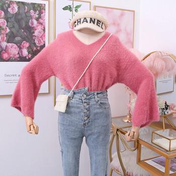 Νέο μοντέλο γυναικείο πουλόβερ με λαιμόκοψη και φαρδιά μανίκια