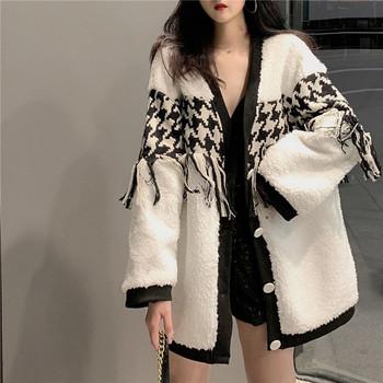 Μακρύ παλτό άνοιξη-φθινόπωρο σσε λευκό και μαύρο χρώμα