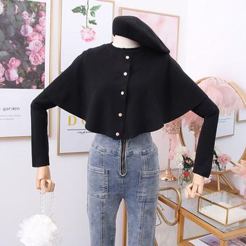 Μοντέρνο γυναικείο πουλόβερ με κουμπιά σε καφέ και μαύρο χρώμα