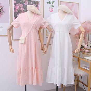 Νέο μοντέλο γυναικείο φόρεμα με λαιμόκοψη και κοντό μανίκι
