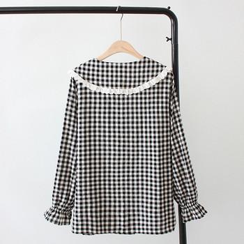 Casual γυναικείο πουκάμισο  \'O-Neck μακρύ μανίκι σε μπεζ και μαύρο χρώμα
