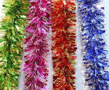 Комплект от четири броя коледни гирлянди в зелен, розов, червен и син цвят