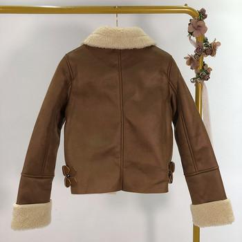 Късо есенно-зимно яке с ципове и подплата в кафяв и черен цвят