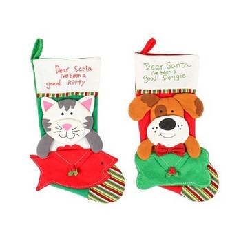 Коледен чорап за подаръци с 3D коте или куче