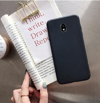 Изчистен силиконов калъф за Samsung Galaxy J7 в черен цвят