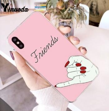 Калъф за iPhone X и iPhone XS в розов цвят с апликация и надпис