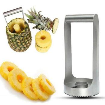 Уред от неръждаема стомана за изрязване на ананас в сребрист цвят