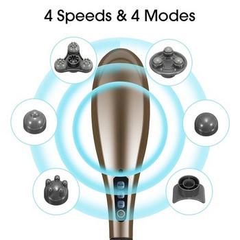 Безжичен електрически масажор 7 в 1 с шест масажни приставки