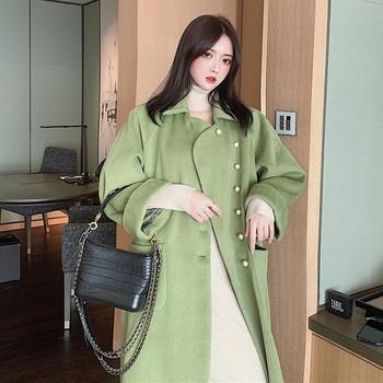 Дълго елегантно палто с перлени копчета в зелен и оранжев цвят