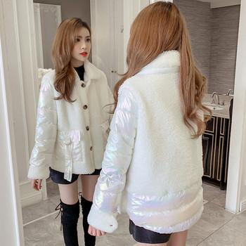 Нов модел дамско палто с копчета и джобове в розов,жълт,бял и син цвят