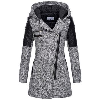 Дамско палто в няколко модела:  светлосив, тъмносив, виненочервен и тъмносин