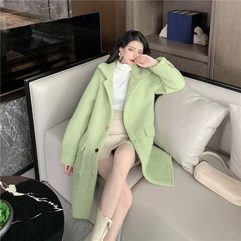 Дълго пролетно-есенно палто в бежов,зелен и бял цвят
