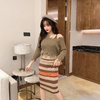Дамски комплект от плетена рокля с презрамки и къс пуловер