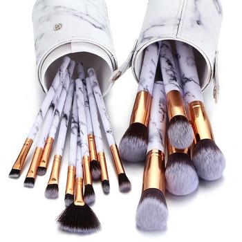 Σετ 15 πινέλων μακιγιάζ με λευκή θήκη αποθήκευσης με μαρμάρινη επίδραση