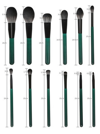 Комплект от 12 меки четки за грим в зелен цвят