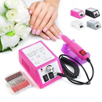 Електрическа пила за маникюр и педикюр с шест приставки в сив, розов, бял и лилав цвят