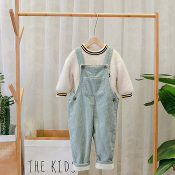 Нов модел детски гащеризон с джоб в зелен и бежов цвят