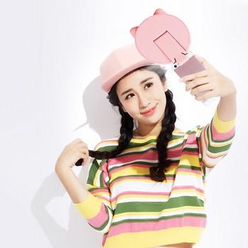 Козметично огледало с LED светлина и поставка за телефон в розов цвят