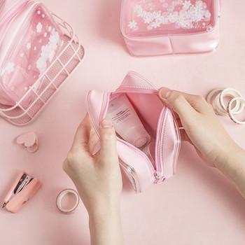 Αισθητική αδιάβροχη ροζ τσάντα μακιγιάζ με πούλιες