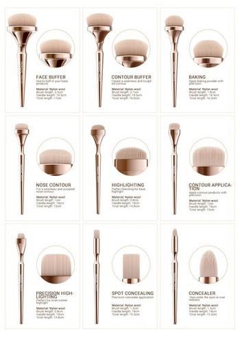 Луксозен комплект от 9 четки за лице в златист цвят