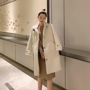 Дамско палто с джобове и копчета в три цвята