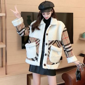 Нов модел дамско карирано палто с джобове и копчета
