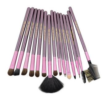 Σετ από 20 βούρτσες μακιγιάζ + θήκη αποθήκευσης σε μοβ χρώμα
