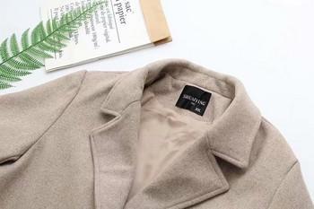 Модерно дамско дълго палто с копчета и джобове в бежов и кафяв цвят