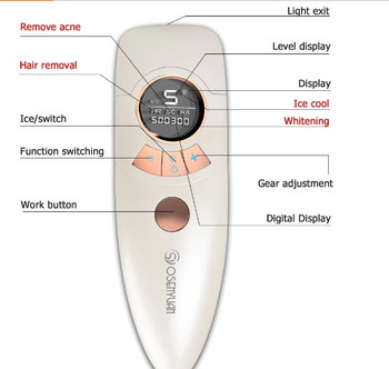 Photoepilator - 500.000 παλμούς και μια ψυχρή λειτουργία συμπίεσης σε λευκό χρώμα