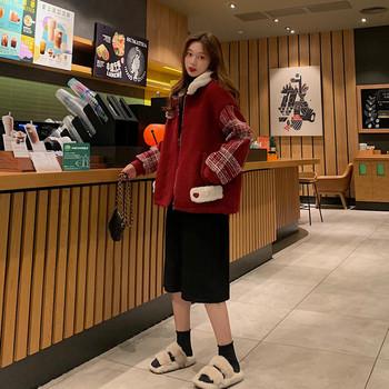 Дамско ежедневно палто в червен цвят и цип