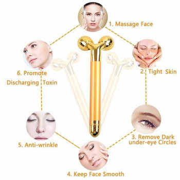 Електрически 3D масажор за лице с две приставки за стягане на кожата на лицето в златист цвят