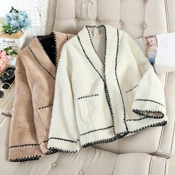 Дамско късо палто с копчета и джобове в бял,черен и бежов цвят