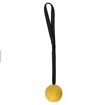 Гумена топка с каишка за игра с кучета в жълт и оранжев цвят