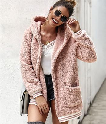 Модерно дамско палто с цип и джоб в няколко цвята