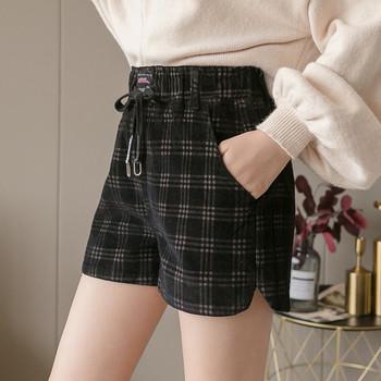 Ежедневни дамски карирани панталони с връзки в черен,кафяв и бежов цвят