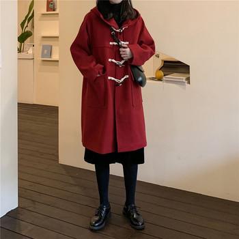 Модерно  дамско палто с копчета и джобове в три цвята