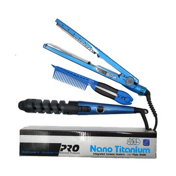 Σετ τριών τεμαχίων που περιλαμβάνει ίσιωμα μαλλιών, μπούκλα και  χτένα σε μπλε χρώμα