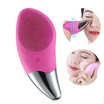 Електрически силиконов USB уред за дълбоко почистване на лице в розов, зелен и лилав цвят