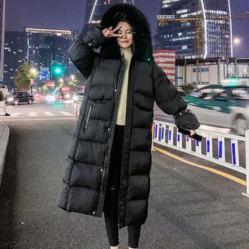 Модерни дамско зимно дълго яке с качулка в бял и черен цвят
