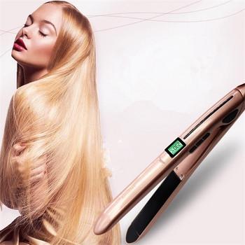 Πρέσσα μαλλιών  μέχρι 230 ° C και η οθόνη LCD σε ροζ χρώμα